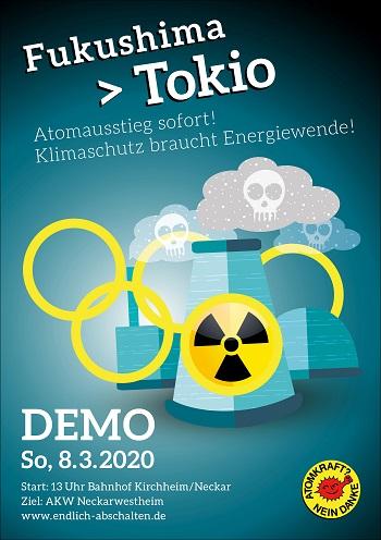 Plakat zur Demo zum Atomkraftwerk Neckarwestheim